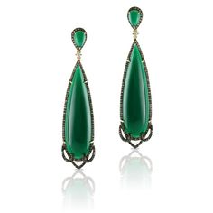 Green Agate and Diamond Earrings Available at Houston Jewelry!  www.houstonjewelry.com Fairburn Agate, Diamond Earrings, Drop Earrings, Green Agate, Semi Transparent, Moss Agate, Designer Earrings, Jasper, Opal