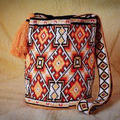 Moderna mochila wayuu técnica hecha a mano bolsas de Boho