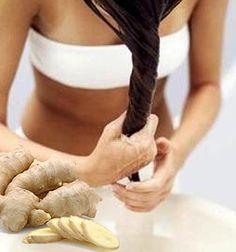 Измельчаем свежий очищенный корень имбиря и выжимаем из него сок.  Затем аккуратно втираем сок в кожу головы и распределяем его по всей длине волос. Сверху надеваем утепляющий колпак и оставляем имбирную маску на волосах на 1-2 часа. Смываем теплой водой. При регулярном использовании этой маски из имбиря волосы станут гладкими, блестящими и крепкими.    Сок этого чудо-корня стимулирует кровообращение и соответственно укрепляет корни волос, ускоряет их рост и предотвращает выпадение волос.