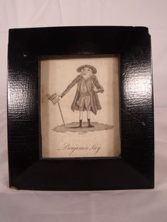 """Charming Antique Benjamin Lay etching from the mid to late 1700's. Frame in an antique Black painted bevel frame from the 1800's. Great condition for its age. Frame has bumped corners and some nicks etc. See photo's. Benjamin Lay was a Quaker philanthropist and abolitionist. The Dimensions are Frame: 7 1/2"""" high by 6 1/2"""" wide outside. Image: 4 1/2"""" high by 3 1/2"""" wide"""