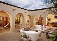 Hacienda Spanish style courtyard home Hacienda Style Homes, Spanish Style Homes, Spanish House, Spanish Colonial, Spanish Revival, Mexican Style Homes, Spanish Courtyard, Courtyard House, Home With Courtyard
