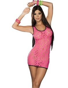 e3e3891d785 Glow In The Dark Blacklight Reactive Neon Pothole Dress in Hot Pink Medium  -- Check