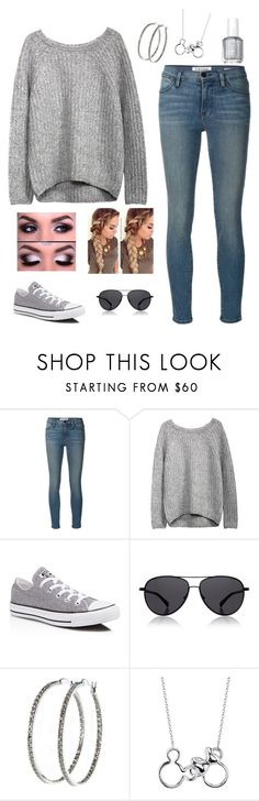 """""""Just Cuz"""" by gabbyim1 ❤ liked on Polyvore featuring Frame Denim, Converse, The Row, Nyla Star, Disney and Essie"""