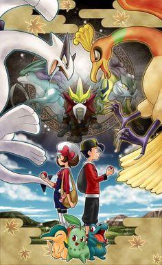 Pokemon Hoho and Lugia Rayquaza Pokemon, Pokemon Firered, Nintendo Pokemon, Pokemon Fan Art, Pokemon Games, Pikachu, Lugia, Pokemon Heart Gold, Gold Pokemon