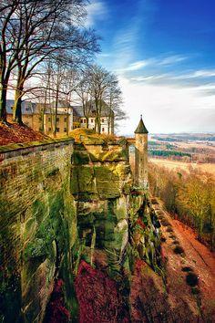 "Königstein is a town in the Free State of Saxony in Germany. Königstein lies in the Sächsische Schweiz-Osterzgebirge District and has a population of 2,898 as of 2005. Near Königstein is the Festung Königstein fortress, the ""Saxon Bastille"", is a hilltop fortress near Dresden, in Saxon Switzerland, Germany, above the town of Königstein on the left bank of the River Elbe."