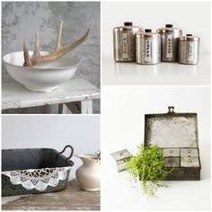 Create a unique farmhouse kitchen with vintage finds from the shops Farmhouse Chic, Vintage Farmhouse, Product Offering, Kitchen Essentials, Antique Shops, Rustic Decor, Kitchen Appliances, Antiques, Create