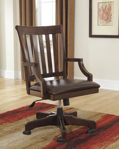 Hindell Park Dark Brown Upholster Wood Home Office Desk Chair