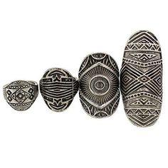 Pack of 4 Vintage Tribal Indian Mayan Calendar Aztec Warrior Band Men Biker Ring