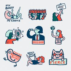 Creative agency Grand Matter worked with its illustrators to launch a package of 34 digital stickers filled with themes of female empowerment, confidence and inspiration. Illustration Art Drawing, Graphic Design Illustration, Art Drawings, Icon Design, Logo Design, Tumblr Stickers, Grafik Design, Sticker Design, Doodle Art