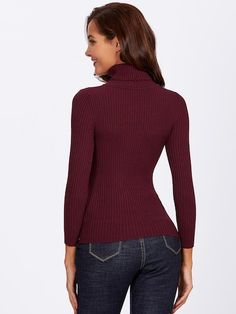 f250232347 Rolled Neck Ribbed Knit Fitting Sweater -SheIn(Sheinside) Roll Neck, Rolls,