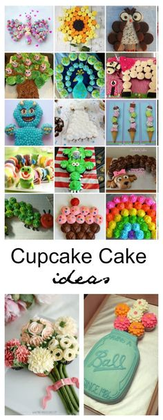 Cupcake Cake Ideas - - Cupcake Cakes are quite easy to make and look like you put a ton of time and work into it. Sharing a collection of Cupcake Cake Ideas that is sure to get you inspired for your next party. Cupcake Torte, Cupcake Frosting, Cupcake Cookies, Cupcake Cake Designs, Pull Apart Cupcake Cake, Pull Apart Cake, Cute Cupcakes, Lemon Cupcakes, Strawberry Cupcakes