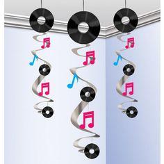 Bolsa 3 colgantes decorativos disco music 60 cms - Comprar online al mejor precio