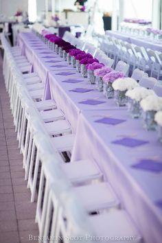 Purple silver fuchsia centerpiece, orchids, bat mitzvah, Posy, Wedding and Event Florist, Columbus Ohio, Ombre, MMJ Events