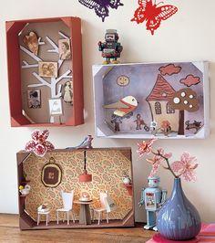Tableaux enfantins mis en scène en relief dans des cagettes en bois
