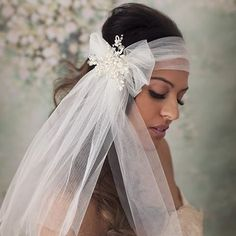 Chiffon bridal headpiece with pearl detail from Mimosa Couture Bridal Accessories