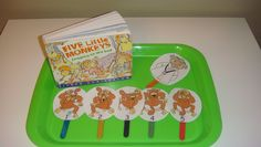 """Toddler School Tray: """"Five Little Monkeys Jumping On The Bed"""" - Find tiny toy monkeys to glue onto the clothes pins and make a bed out of felt. Pin the right number of monkeys onto the bed. Find a """"doctor"""" pin? Monkey Jump, Toy Monkey, Sensory Activities, Activities For Kids, Flannel Board Stories, Tot Trays, Five Little Monkeys, Toddler School, Letter Of The Week"""