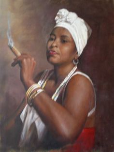 Unknown Artist Woman with a Cigar art Painting 50% off