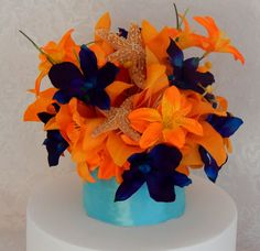 Beach Wedding Cake Topper Custom Made of Blue Dendrobium Orchids Sugar Starfish and Tiger Lilies