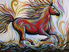 Crimson Lightning Art Print by Amy Giacomelli. All prints are professionally printed, packaged, and shipped within 3 - 4 business days. Horse Artwork, Horse Paintings, Original Artwork, Original Paintings, My Horse, Art Store, Online Art, Art Lessons, Illustration Art