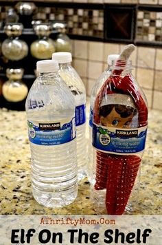 We found Elf on the Shelf inside a water bottle....Wonder how he got in there....Elf on the Shelf Ideas, What to do with an elf on a Shelf, Easy Elf on the Shelf Ideas!!