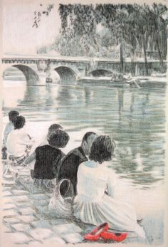 Drawing of people sitting by the Seine by the Pont by AvalonPrand, $70.00