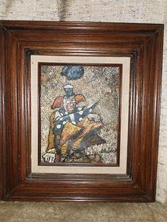 ORIGINAL CLOWN PAINTING ON CANVAS - SIGNED WALDEN