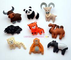 ASIAN animals  Felt Magnet animals  Fridge by LadybugOnChamomile, $79.99