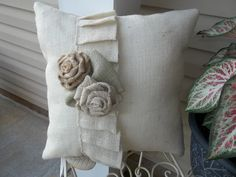 "Oyster Burlap Ruffled pillow with rose  17"" X 17"""