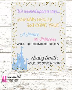Disney Pregnancy Announcement Photo Prop, New Baby Announcement, Wished Upon A Star Pregnancy Announcement, Expecting A Baby, Pregnancy Sign by ALMemorableCreations on Etsy