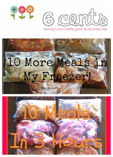 Six Cents: Freezer Cooking Away - 10 freezer/crockpot meals..This lady is awesome! pre made freezer meals for your crockpot! awesome!