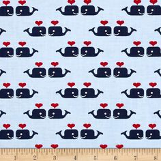 Dear Stella Oh Say Can You Sea Whales In Love Marina from @fabricdotcom  Designed by Jack and Lulu for Dear Stella, this cotton print fabric features the giants of the sea in love for a sweet take on ocean life. Perfect for quilting, apparel and home decor accents. Colors include red, navy, sky blue and white.