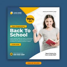 Social Media Poster, Social Media Banner, Social Media Design, Youtube Banner Design, Web Banner Design, Graphic Design Quotes, School Admissions, Instagram Post Template, Banner Template
