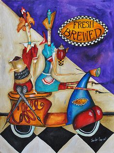 French Art Network | Garant, Jennifer - FRESHLY BREWED - 30 x 22 inches - watercolor on paper painting.