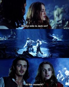 Pirates of the Caribbean Elizabeth Swann and Will Turner The Pirates, Pirates Of The Caribbean, Johnny Depp, Jack Sparrow Quotes, Jack Sparrow Funny, Pirate Life, Disney Memes, Orlando Bloom, Will Turner