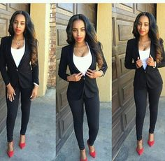 Office Attire from Celebrity Street Style | Black blazers Flats