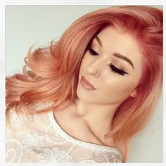 Pin by emily on makeup hair shades, strawberry blonde hair, gold hair c Cabelo Rose Gold, Gold Hair Colors, Spring Hair Colors, Pastel Hair Colors, Unique Hair Color, Pastel Orange Hair, Fun Hair Color, Coral Hair Color, Pastel Blonde