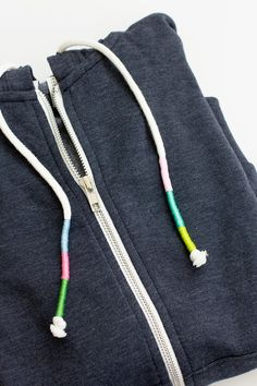 diy wrapped cord swearshirt