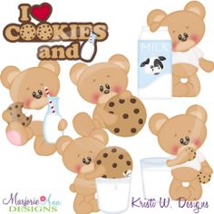 I Love Cookies & Milk SVG Cutting Files Includes Clipart