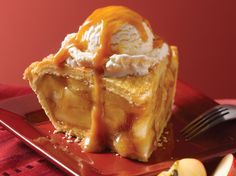 Village Inn Caramel Apple a La Mode: We transform our Country Apple Pie, already an award-winner, into a pie sundae.  First we top it with rich vanilla ice cream and then cover it all with thick caramel sauce and nuts.