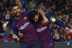 Lionel Messi of FC Barcelona celebrates after scoring his team's third goal with his teammate Luis Suarez during the UEFA Champions League Round of 16 Second Leg match between FC Barcelona and. Uefa Champions League, Lionel Messi, Fc Barcelona, Neymar, Christmas Sweaters, Soccer Teams, Celebrities, Tops, Fashion