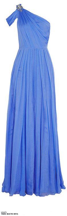 Matthew Williamson One-Shoulder Embellished Silk-Chiffon Gown