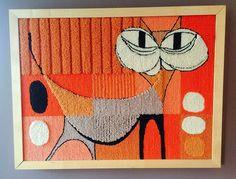 Mid Century Hinz Hooked Wall Rug Tapestry Cubist Abstract Cat Danish Mod in Art, Textile Art & Fiber Art Mid Century Rug, Rugs And Mats, Latch Hook Rugs, Rug Inspiration, Thread Art, Rug Hooking, Locker Hooking, Tapestry Weaving, Fabric Art