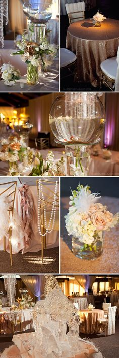 Lovely gold, blush and sparkly details at our Evening with Gatsby event! Phoenix Bride and Groom, Katrina Wallace Photographers, Tres Chic Events, La Tavola Linen, McCormick Ranch Golf Club #Gatsby #Wedding #decor #gold #blush