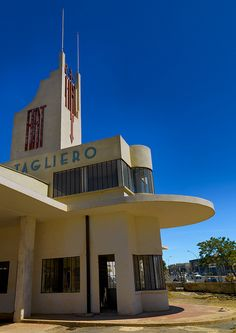 Asmara is the capital of Eritrea, and became an Art Deco laboratory during the 1930s.        Fiat Tagliero gas station designed in 1938 by Giuseppe Pettazzi to look like an aeroplane.