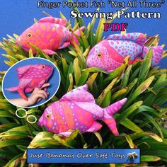 "Sewing Pattern PDF Finger Pocket Fish ""Net All Puppet Style Action Toys for Children Full Sized Pattern pieces & Instructions. Types Of Puppets, Thanks A Bunch, Action Toys, One Banana, Printed Pages, Extra Fabric, Fishnet, Kids Toys, Dinosaur Stuffed Animal"
