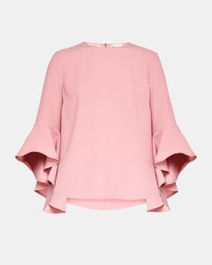 Discover womens tops and t-shirts from Ted Baker. From long sleeve tops, to pretty printed shirts, staple vests, bold batwing tops and short sleeve t-shirts. Long Sleeve Tops, Bell Sleeve Top, Batwing Top, Pink Tops, Designing Women, Blouse Designs, Printed Shirts, Ted Baker, Summer Outfits