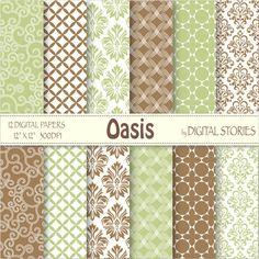 Green Brown Damask Swirl Digital Scrapbook Paper Pack - OASIS