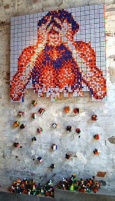 Wall Murals & Street Art made out of Rubix cubes #wallmurals #streetart #urbanart