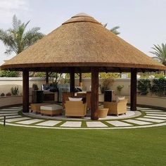 Round House Plans, Small House Plans, My House Plans, Backyard Pavilion, Backyard Patio Designs, Backyard Gazebo, Thatched House, Thatched Roof, Village House Design
