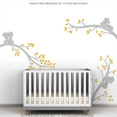 Grey Yellow Kids Tree Wall Decal Baby Nursery by TheKoalaStore